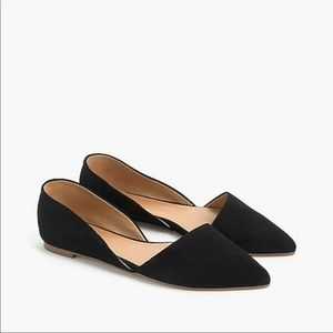 J.Crew D'Orsay Black Suede Pointed Toe Flats 9.5